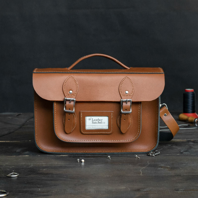 12.5-inch Briefcase Satchel in Waxy London Tan Leather Camera Bag