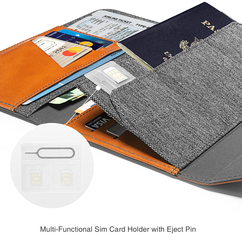 Travel Wallet Passport Holder with Sim Card Holders and Eject Pin