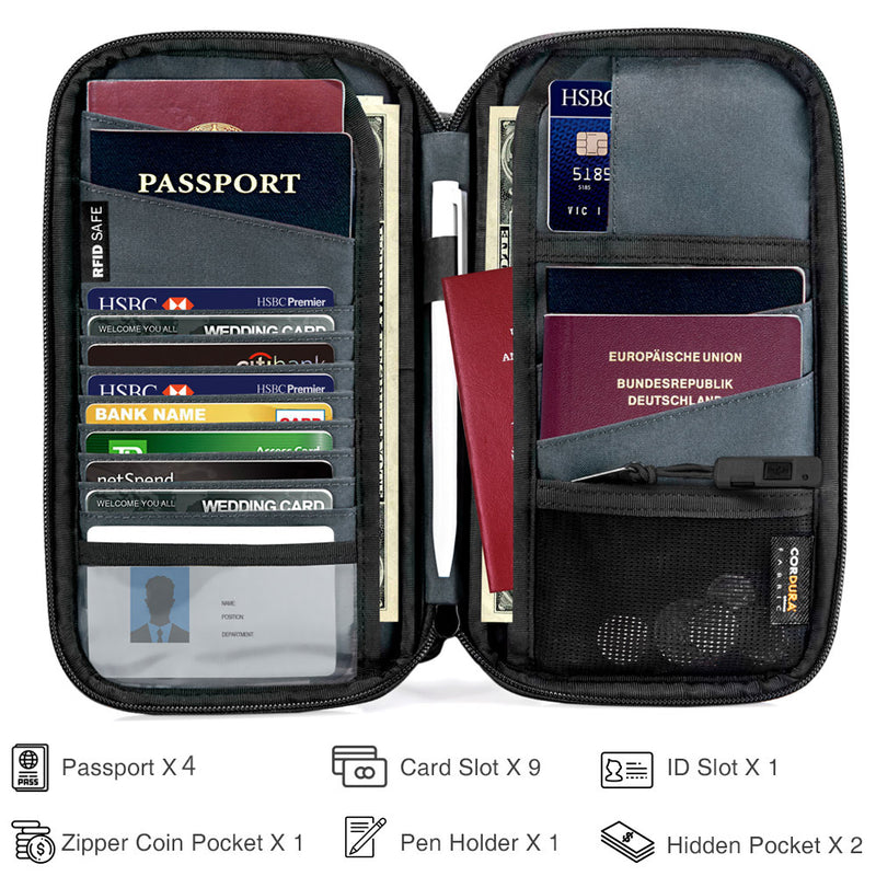 Family Size Passport Holder (4 Passport Slots) - Gray