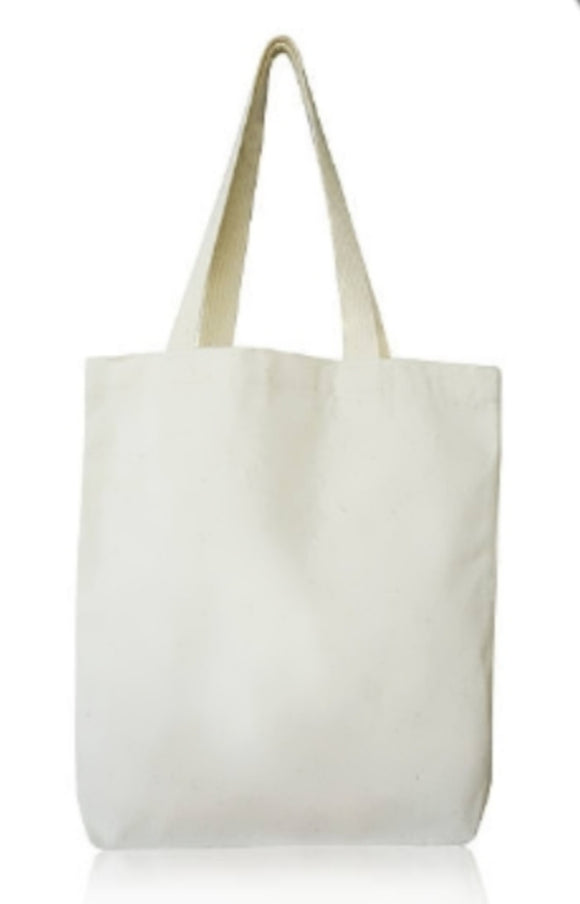 Natural Calico Bags with long handle. (38cmx42cm)