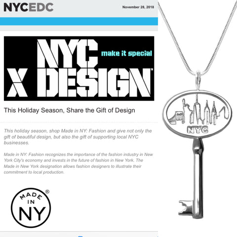 "Thank you @nycxdesign @madeinnyfashion for featuring the ""Key to the City"" in the holiday gift guide!  Michele Benjamin Jewelry, ""Key to the City"""