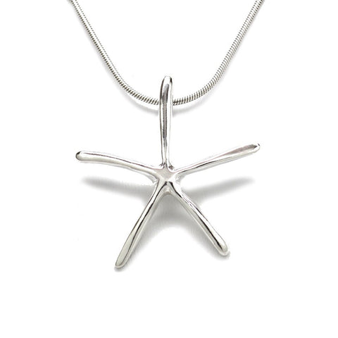 Sterling Silver Starfish Pendant Necklace 18 in. L