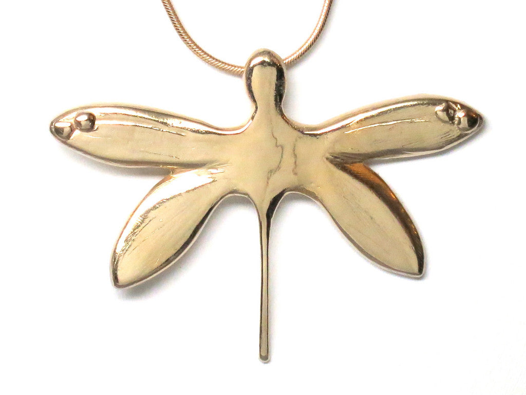 18K Gold Vermeil Dragonfly Pendant Necklace Sculptural Handcrafted 18L - Michele Benjamin - Jewelry Design