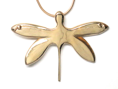 18K Gold Vermeil Dragonfly Pendant Necklace Sculptural Handcrafted 18L