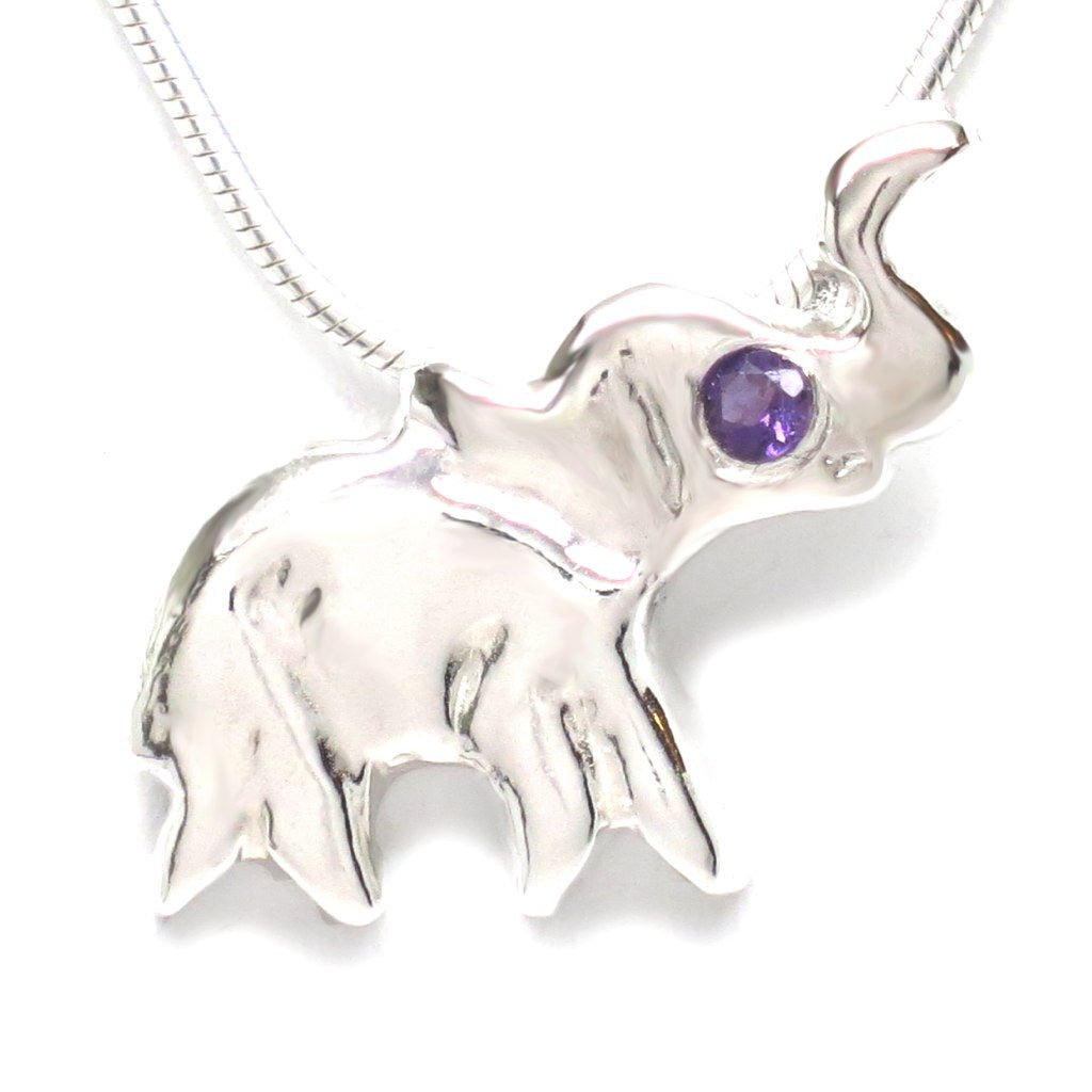 "Sterling Silver Amethyst Flush Set Lucky Elephant Dainty Necklace [Natural] 16"" - Michele Benjamin - Jewelry Design"