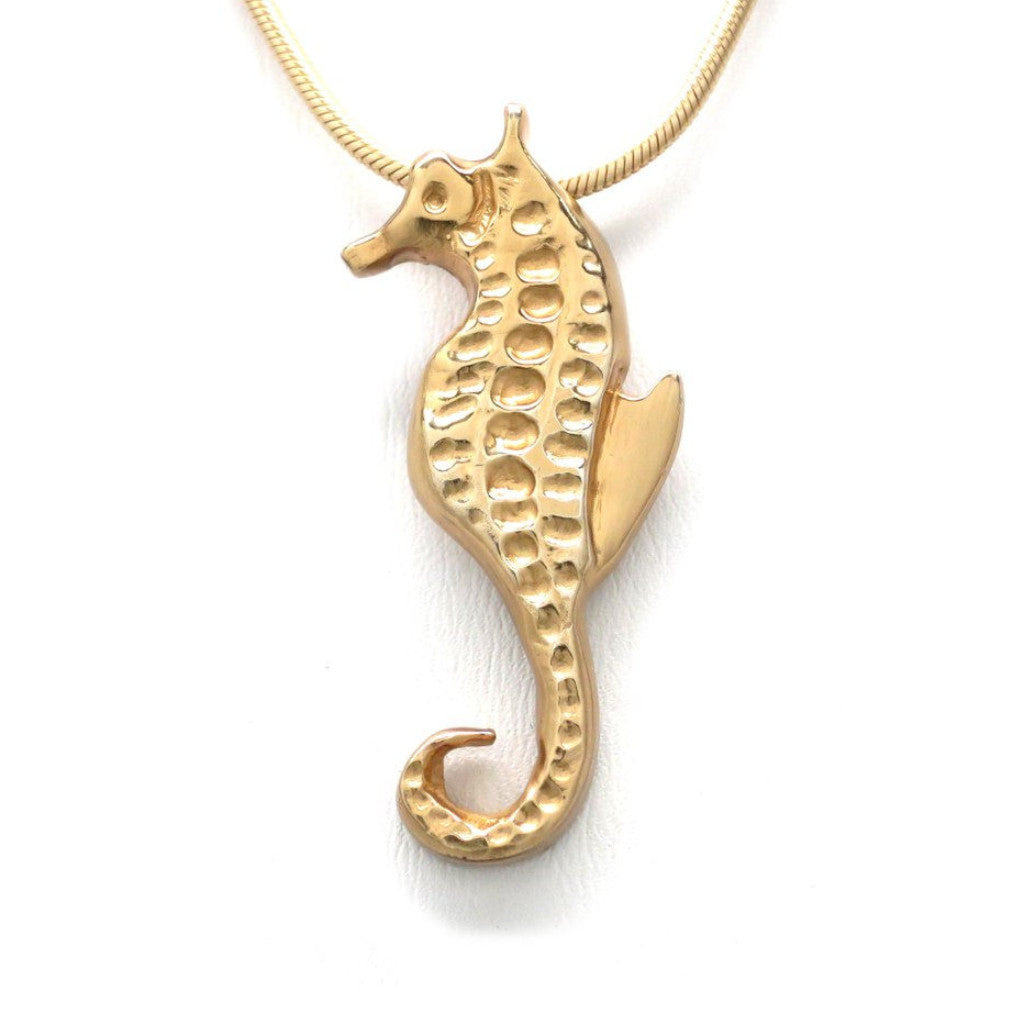 18K Gold Plated Sterling Silver Seahorse Pendant Necklace 18 in. L - Michele Benjamin - Jewelry Design