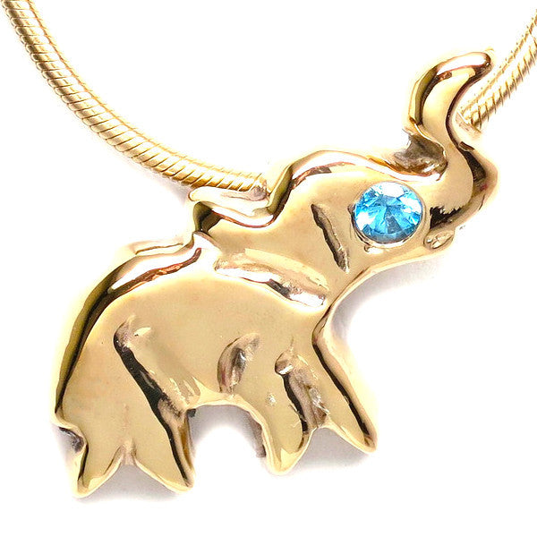 "18K Gold Plated London Blue Topaz Lucky Elephant Necklace 16"" by Michele Benjamin"
