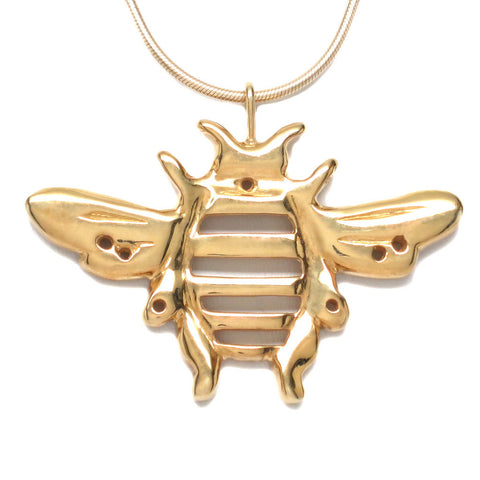 18K Gold Vermeil Bumblebee Pendant Necklace Handcrafted 18 inch L