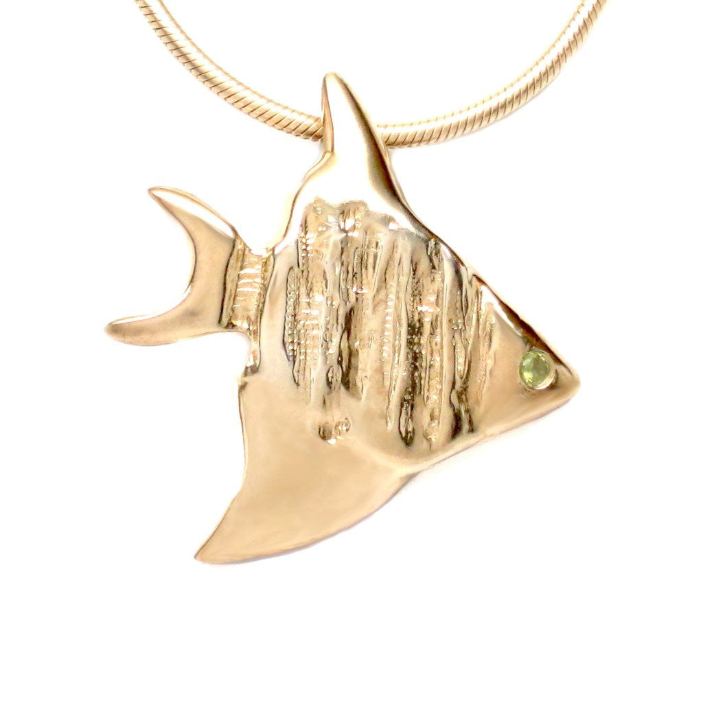 18K Gold Vermeil Flush Set Peridot Angelfish Pendant Necklace 18L - Michele Benjamin - Jewelry Design