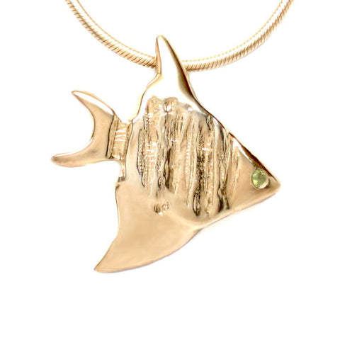 18K Gold Vermeil Flush Set Peridot Angelfish Pendant Necklace 18L