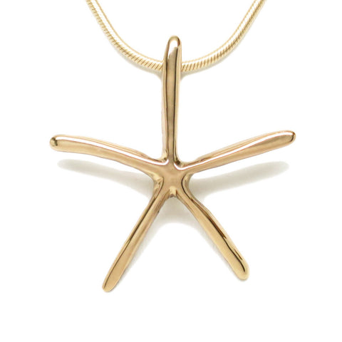 18K Gold Plated Bronze Starfish Pendant Necklace 18 in