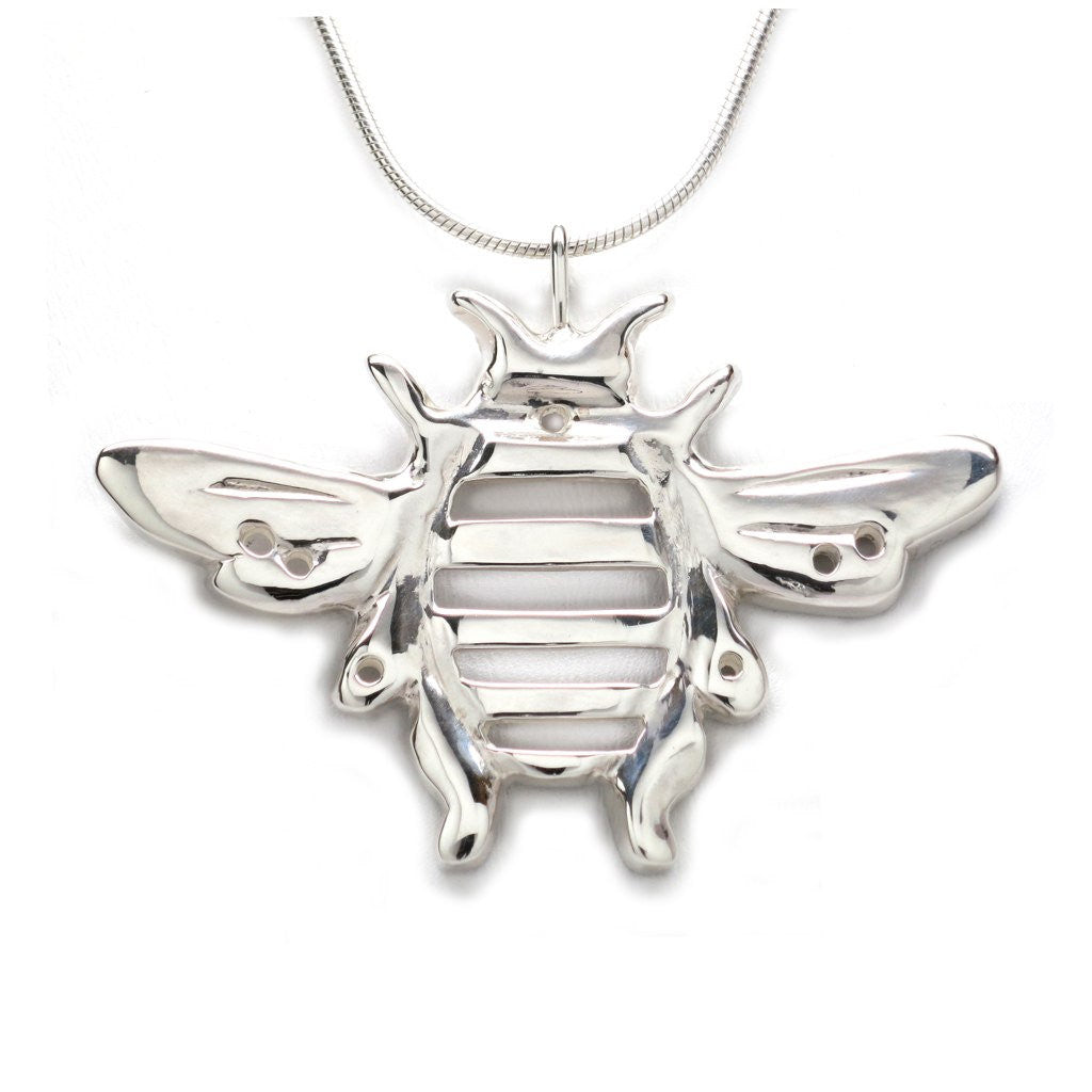 Sterling Silver Bumblebee Pendant Necklace Handcrafted 18 inch L - Michele Benjamin - Jewelry Design