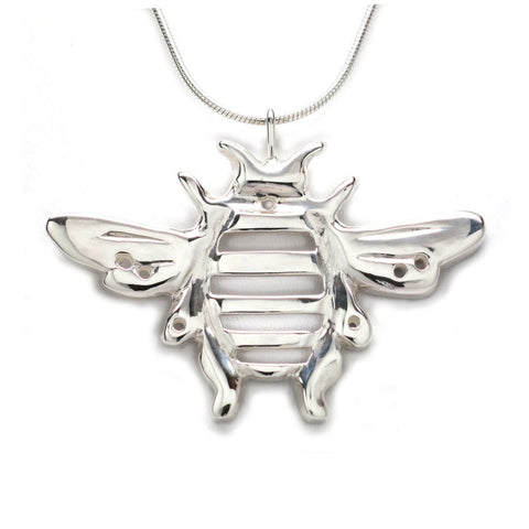 Sterling Silver Bumblebee Pendant Necklace Handcrafted 18 inch L