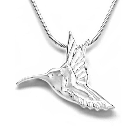 Sterling Silver Hummingbird Pendant Necklace Artistically Unique Sculptural Handcrafted 18L