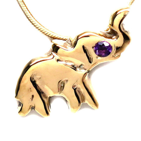 18K Gold Plated Brass Amethyst Lucky Elephant Dainty Necklace [Natural]