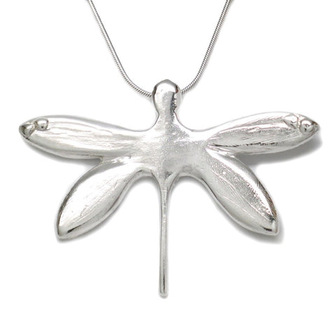 Sterling Silver Dragonfly Pendant Necklace 18 Inch L