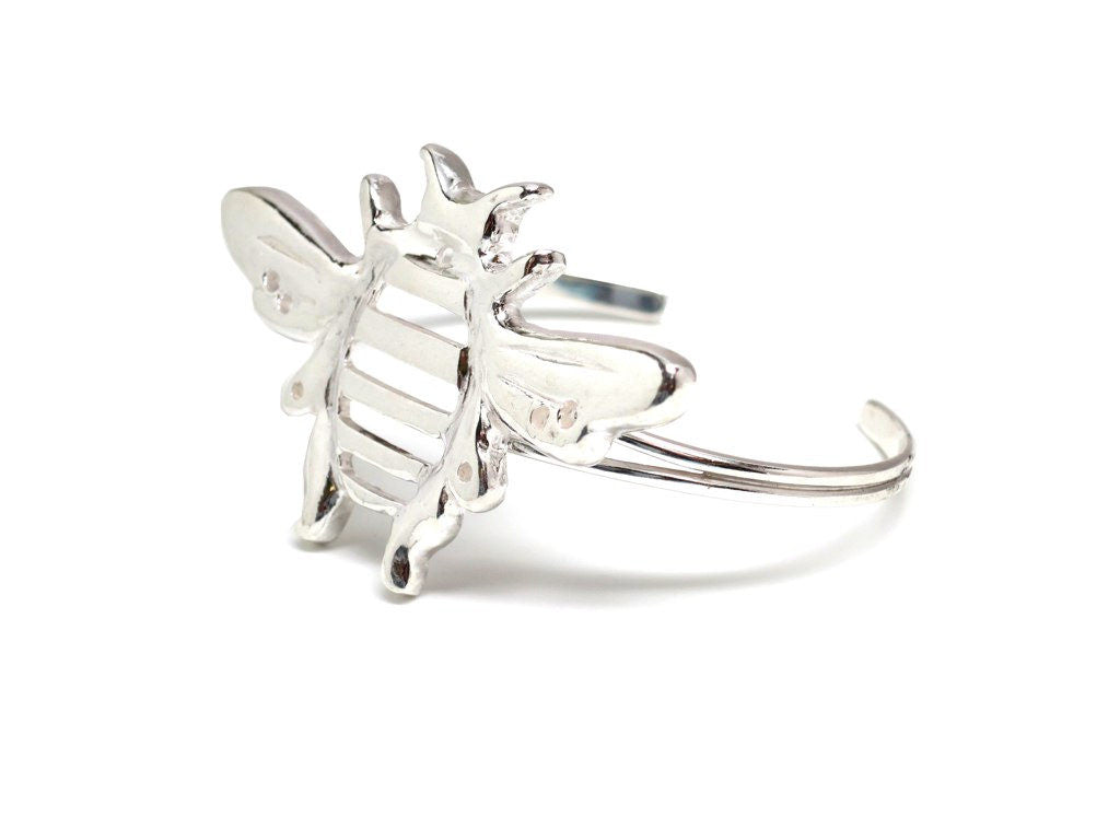 Sterling Silver Bumblebee Cuff Statement Bracelet Artistically Handcrafted - Michele Benjamin - Jewelry Design