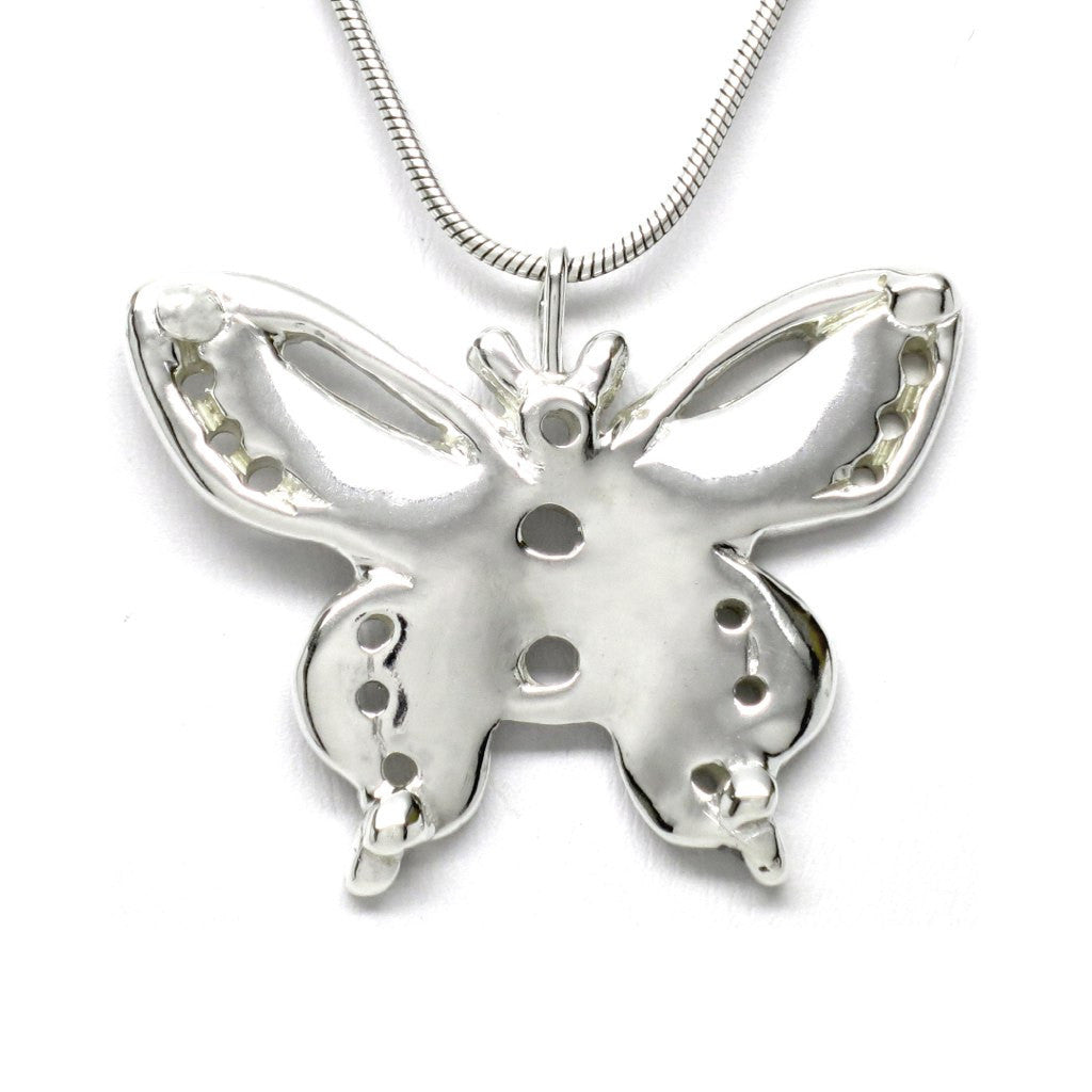 Sterling Silver Butterfly Pendant Necklace Artistically Unique Sculptural Handcrafted - Michele Benjamin - Jewelry Design
