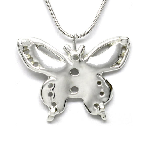 Sterling Silver Butterfly Pendant Necklace Artistically Unique Sculptural Handcrafted
