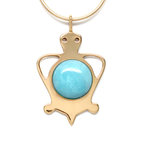 18K Gold Plated Brass Amazonite Tortoise Pendant Necklace