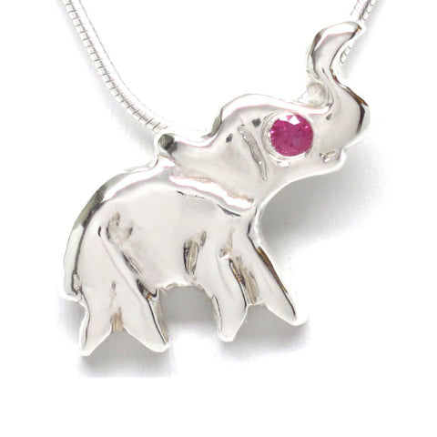 Sterling Silver Ruby Flush Set Lucky Elephant Dainty Necklace [Lab Grown] 16""