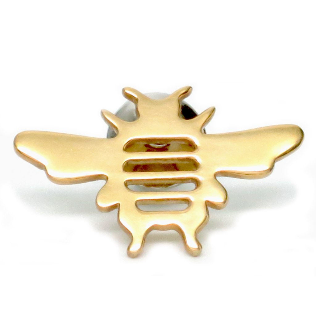 18K Gold Plated Sterling Silver Bee Tie Pin or Lapel Pin - Michele Benjamin - Jewelry Design
