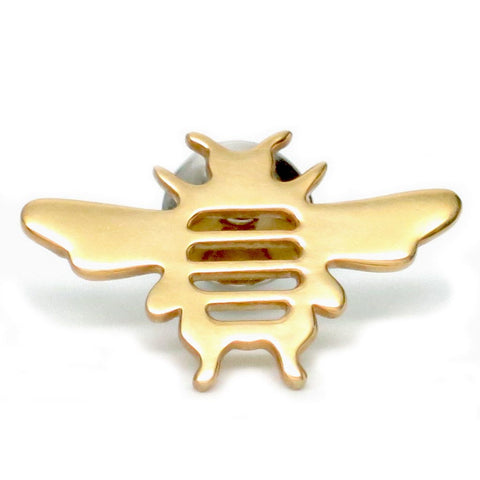 18K Gold Plated Sterling Silver Bee Tie Pin or Lapel Pin