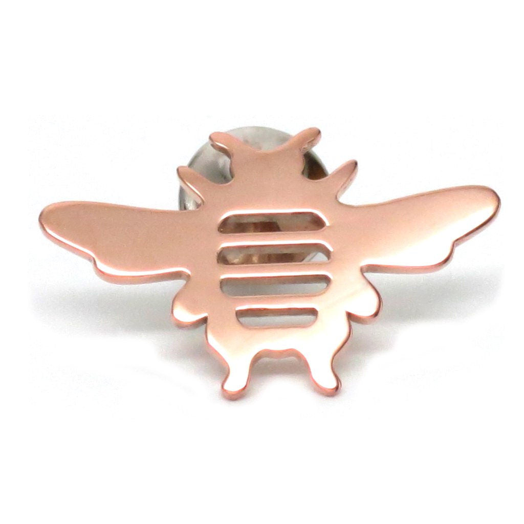 18K Rose Gold Plated Sterling Silver Bee Lapel Pin Women Men - Michele Benjamin - Jewelry Design