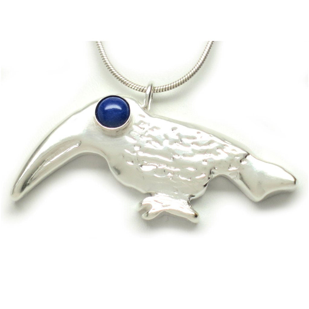 Sterling Silver Toucan Lapis Lazuli Cabochon Pendant Necklace 18L - Michele Benjamin - Jewelry Design