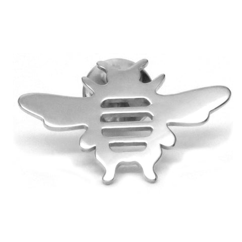 Sterling Silver Bee Tie Lapel Pin Brooch- Men's Women's Unisex