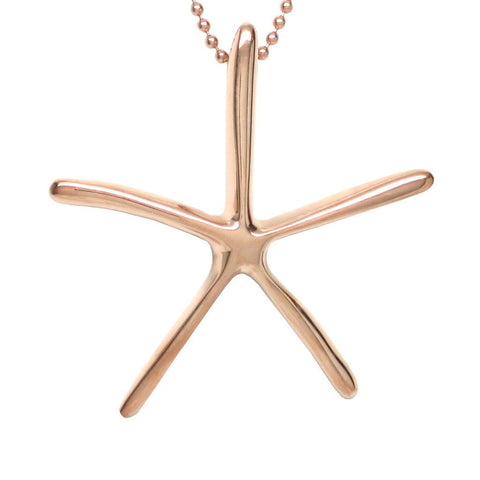 18K Rose Gold Vermeil Starfish Pendant Necklace Artistically Unique Sculptural Handcrafted