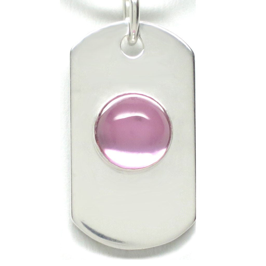 Sterling Silver Dog Tag Pink Sapphire [Lab Grown] - Michele Benjamin - Jewelry Design