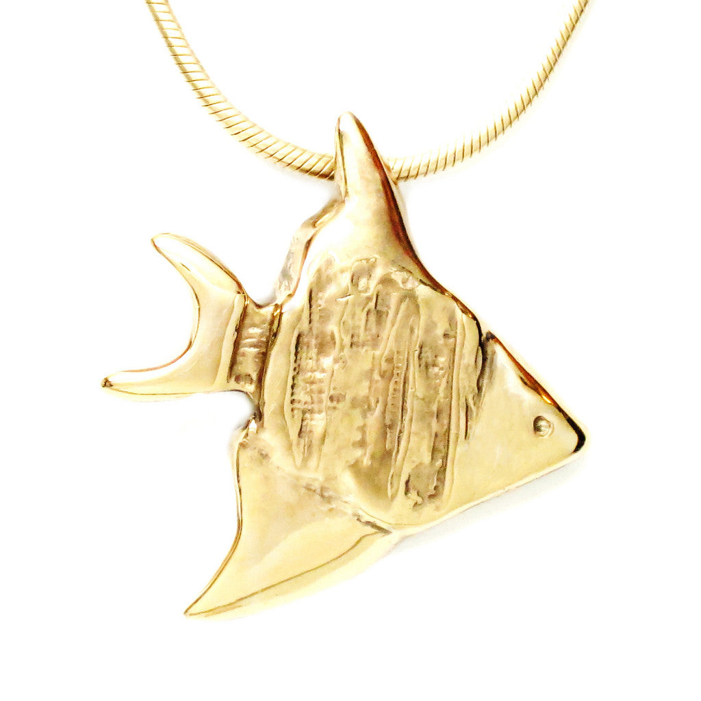 18K Gold Plated Bronze Angel Fish Pendant Necklace 18 Inch L - Michele Benjamin - Jewelry Design