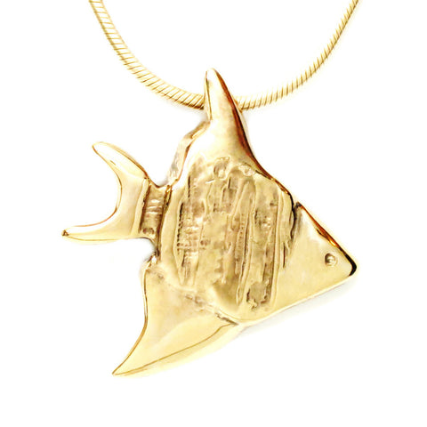 18K Gold Plated Bronze Angel Fish Pendant Necklace 18 Inch L
