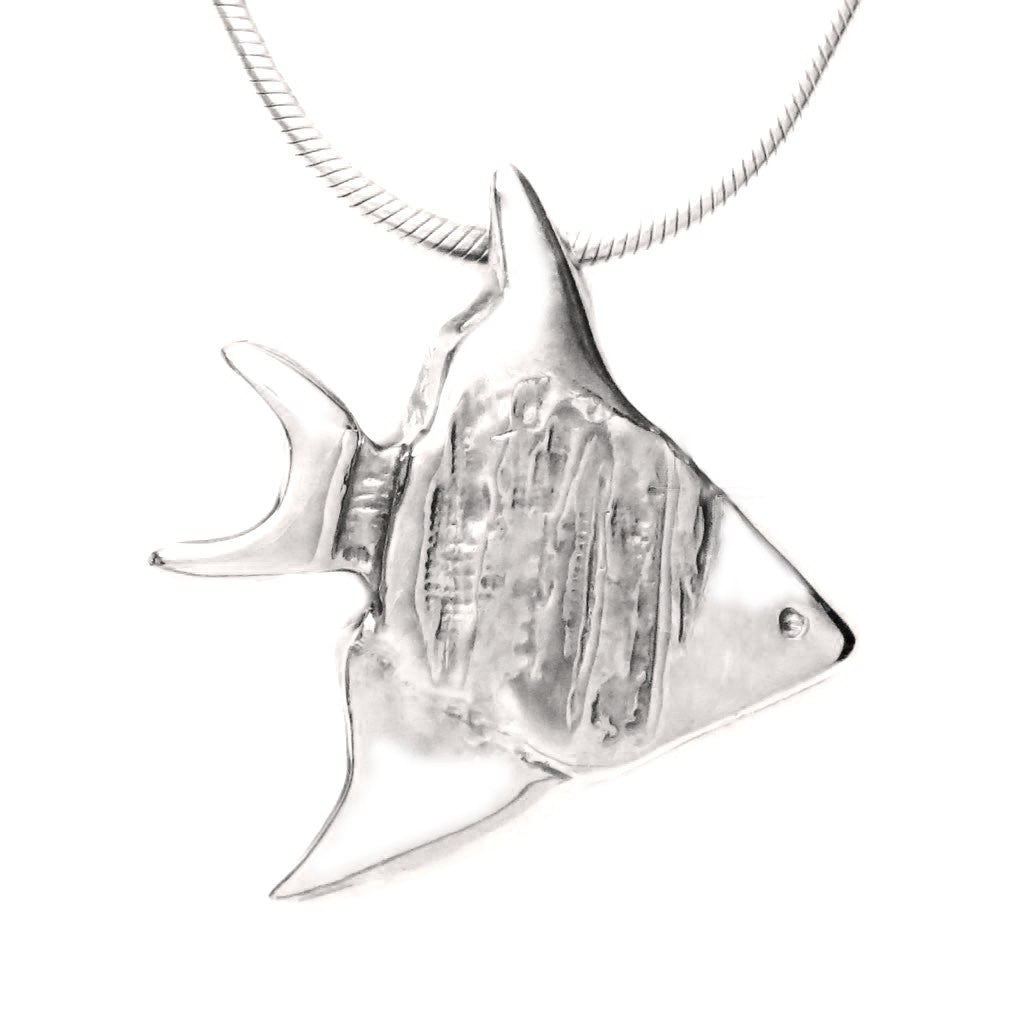 Sterling Silver Angelfish Pendant Necklace - Michele Benjamin - Jewelry Design