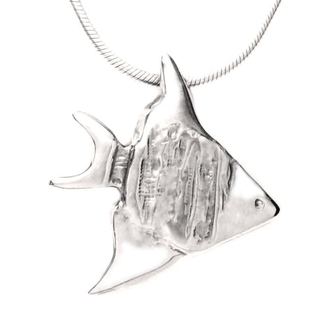 Sterling Silver Angelfish Pendant Necklace Artistic Handcrafted