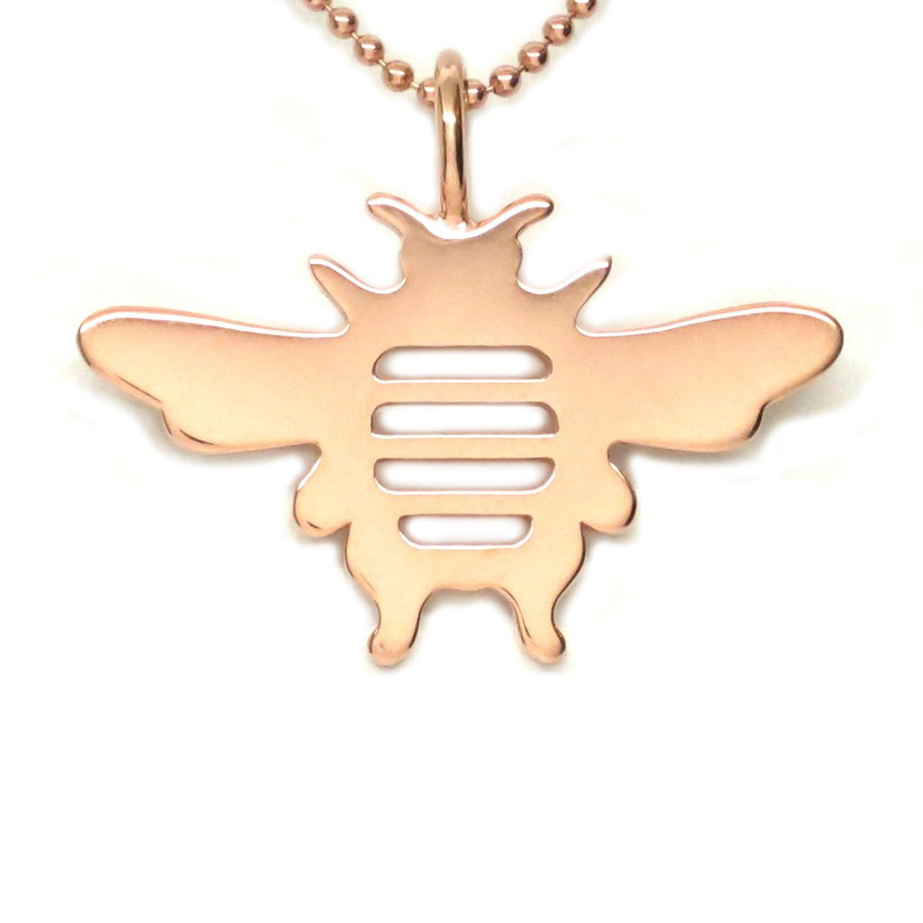 18K Rose Gold Vermeil Bee Pendant Necklace 18 in L - Michele Benjamin - Jewelry Design