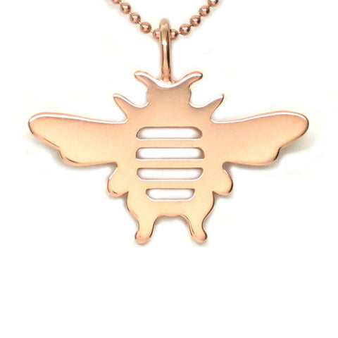 18K Rose Gold Vermeil Bee Pendant Necklace 18 in L