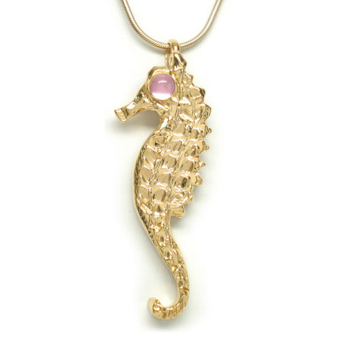 18K Gold Plated Brass Pink Sapphire Cabochon Seahorse Necklace 18 L
