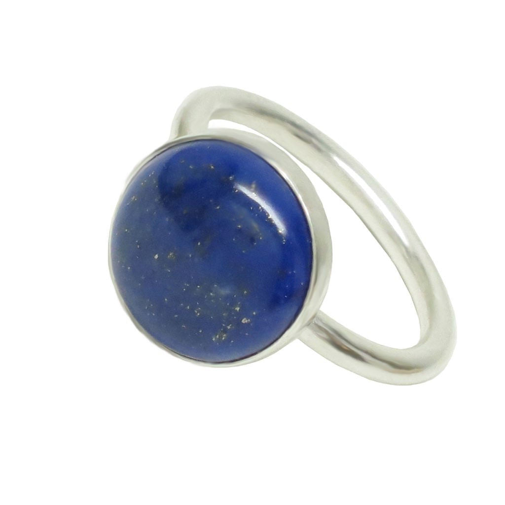 Sterling Silver Lapis Lazuli Round Cabochon Ring Size 6.5 - Michele Benjamin - Jewelry Design
