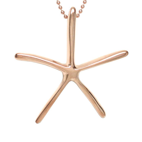 18K Rose Gold Plated Bronze Starfish Pendant Necklace 18 in