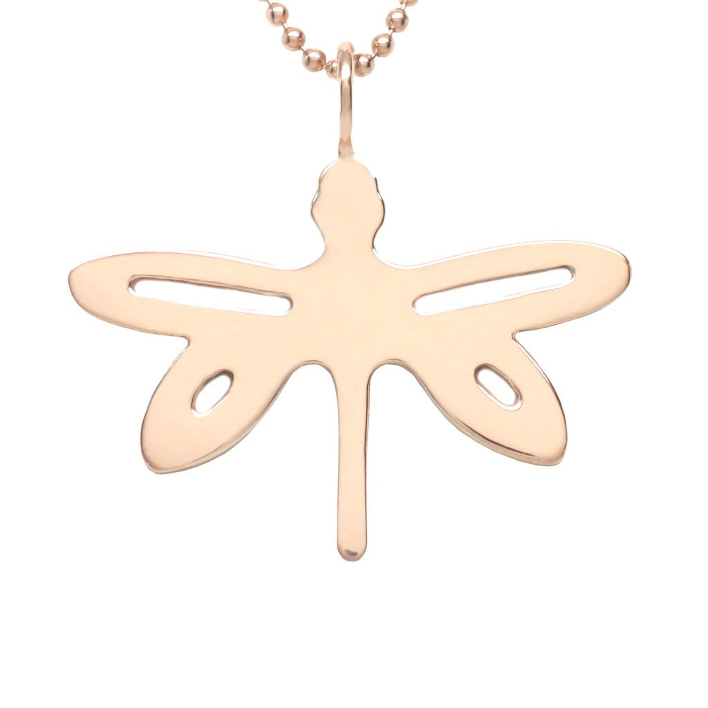 18K Rose Gold Plated Sterling Silver Dragonfly Necklace - Michele Benjamin - Jewelry Design