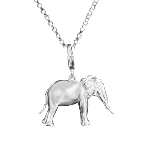 Sterling Silver 3D Elephant Charm Necklace, 2.3MM Rolo 36 in. L