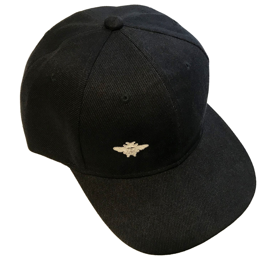 Silver Bee Embroidered - Black Baseball Cap - One Size Fits All - Michele Benjamin - Jewelry Design