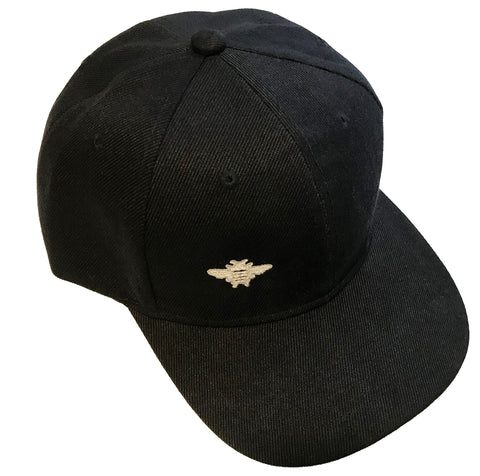 Silver Bee Embroidered - Black Baseball Cap - One Size Fits All