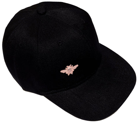 Pink Bee Embroidered - Black Baseball Cap - One Size Fits All Adult