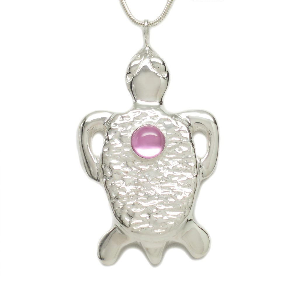 Sterling Silver Pink Sapphire Tortoise Pendant Necklace 18 Inch - Michele Benjamin - Jewelry Design