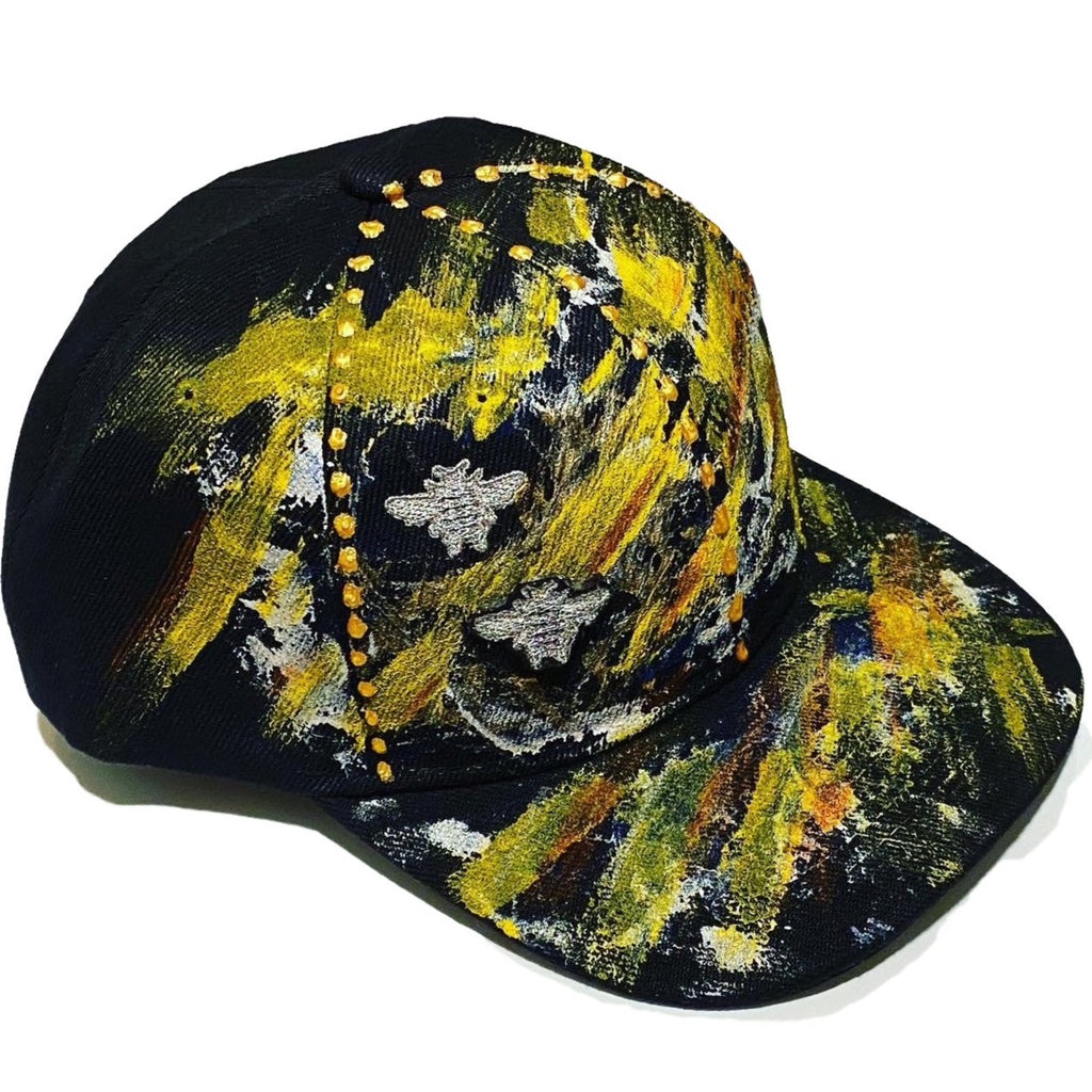 "Original Hand Painted, ""2 BEES"" Silver Bee Embroidered - Black Baseball Cap - One Size Fits All - Michele Benjamin - Jewelry Design"