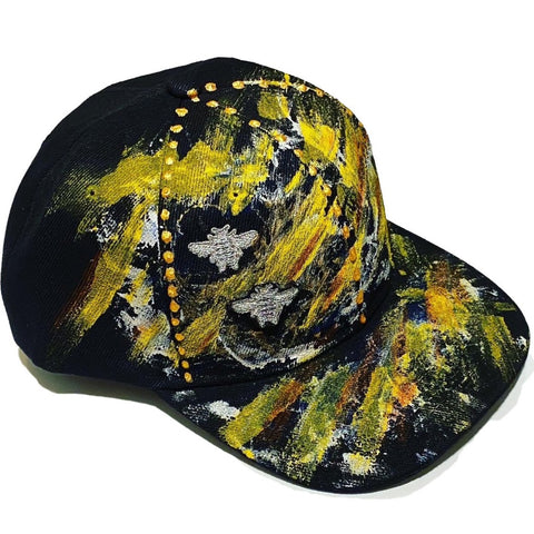 "Original Hand Painted, ""2 BEES"" Silver Bee Embroidered - Black Baseball Cap - One Size Fits All"
