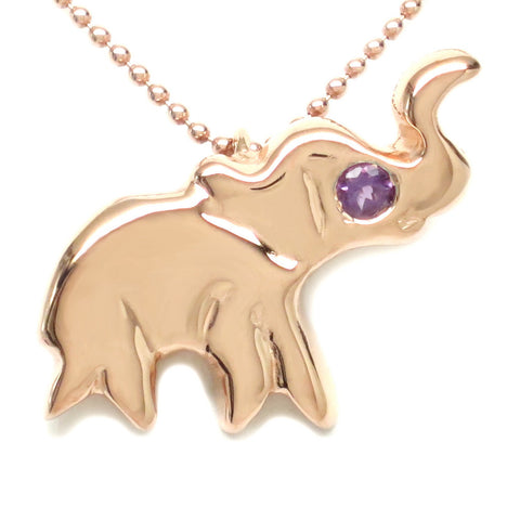 18K Rose Gold Plated Sterling Silver Amethyst Elephant Necklace 16""